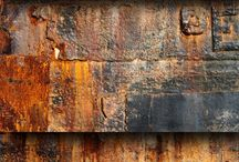 Texture and Surface / rust, stones, erosion, natural, peeled paint