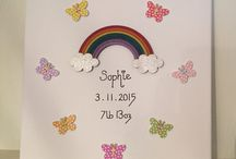 Dewdrops on Rainbows / Handmade, personalised canvas art. Ideal for new baby, rainbow baby, christening and birthday gifts.