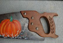 Hand Painted saw blades / Something old made beautiful / by Lena Long