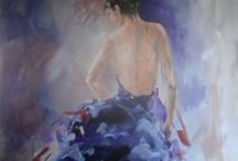 Kleurrijke vrouw om te schilderen