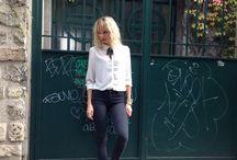 Preppy Look / Ballade dans les vignes de Montmartre au volant d'une moto BadSeeds pour immortaliser mon nouveau chemisier acheté chez Promod.