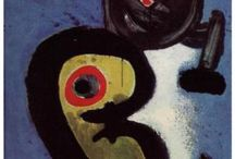 """Surrealism: Joan Miró i Ferrà (1893-1983) / Miro was a Spanish painter, sculptor, & ceramicist. Earning international acclaim, his work has been interpreted as Surrealism, a sandbox for the subconscious mind, a re-creation of the childlike, and a manifestation of Catalan pride.  Miró expressed contempt for conventional painting methods as a way of supporting bourgeois society, and famously declared an """"assassination of painting"""" in favour of upsetting the visual elements of established painting."""