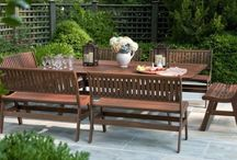 Wooden Dining Furniture / Ipe/Teak/Recycled Poly Lumber and other wooden furniture is a beautiful choice for creating an outdoor dining space. Furniture shown here can be purchased at www.rockymountainpatiofurniture.com