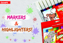 Product Board / A collection of pens, stationeries and kids' educational activity sets.