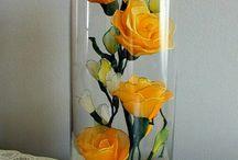 Цветочные композиции в стекле.