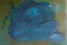 monstre en tenue de camouflage / acrylique sur toile, travail de nuances et superpositions de couleurs