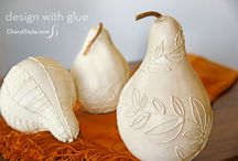glue decorated gourds