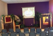 Monthly Stage Design / Each month our children's ministry redesigns our stage in the Bigs room because of our new Great Trait for the month.  Here is a picture of some of our favorites.