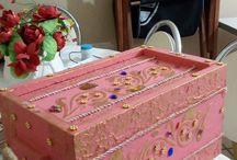 caixas decoradas / caixa reciclada madeira prenssada