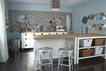 craft space / craft room, craft organization, lazy susan craft storage, craft drawers, artwork, DIY, how to, ladder