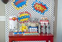 Super Hero Comic Book Birthday Party Ideas / Super Hero Comic birthday party ideas. Throw your little one a SUPER party on a budget! Use our printable items to decorate your dessert table, party favors, cake and more! Super emblems and city backdrops make this design a fun idea for any super child!