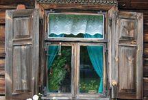 Windows/ Okna / Beautiful windows from rural wooden architecture. Mostly from open air museums in Poland. Drewniane okna z drewnianej architektury. Zazwyczaj z muzeów na wolnym powietrzu - skansenów w Polsce.