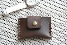 Handmade dark brown card holder,wallet with strap fastener ,handpainted