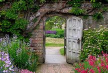 GARDEN GATES /  Gates are intriguing and often beckon me to enter into the gardens that they shelter.  Each one has it's own personality and is as diverse as the garden it's in. / by Carolyn Fisk