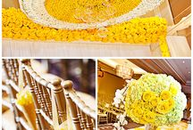 yellow and white wedding decor