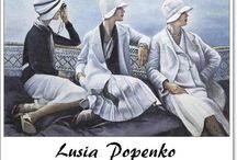 ⊱ Lusia Popenko ⊰  / ≻ Lusia Popenko ~ Volgograd ≺  Her paintings were presented at Christie's Charity Auctions of Russian Art.  Lusia Popenko populates her works with characters brought from memory and imagination. Her paintings are pastoral: everything here is the way you want it to be: you have many lives and all of them are happy. These lives' stories resemble the novels you've read and movies you've seen. Everything here is an incarnation of your dreams of beauty and perfection.
