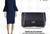 Bianca Black Quilted Italian leather handbag