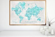 ~ World maps ~ Aquamarine watercolor world maps with cities and rustic gray background