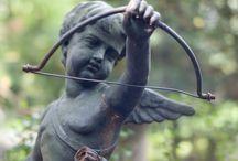 Garden Statue / Franse Tuinbeelden, antiek Beelden, Heilige beeld Maria Lourdes en Jezus, Putto en Engelen, Engeltje Tuinbeeld