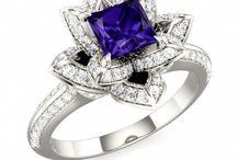 Rings / Vintage rose gold settings unusual tanzanite diamonds Art Deco garnets