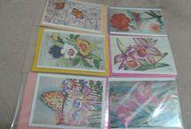 Cartões artesanais / Cartões criados com desenhos feitos a mão.