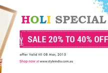 Holi 2015 Sale 20 % to 40 % /   THE BEST OFFER EVER -:  www.styleindia.com.au Wishing You All Happy Holi With great Discount sale 20% to 40% for Regular Five Days.   Dont Miss the Chance and Go For this Best Offer Ever