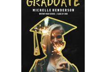 Graduation / Graduate party invitations, thank you cards, grad stickers, graduate party napkins, etc.