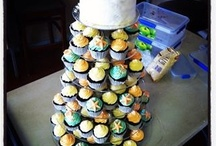 Ocean themed cupcake wedding tower