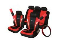 SPORT PACK BLACK BLUE / Full set of seat covers with separate headrest covers Matching steering wheel cover Matching seat belt pads Universal fit Black/Red