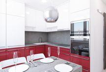 Návrh interiéru bytu 2+1 v panelovém domě / Investorka si přála moderní bílou kuchyň oživenou výraznou barvou.