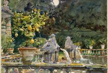 watercolour of John Singer Sargent:  italian landscapes / raccolta di acquarelli di J.S.S. aventi per soggetto paesaggi urbani e non dell'Italia.