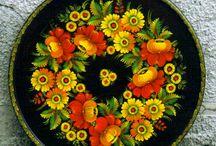 Plates and candy bowls / ukrainian petrykivka style / wedding gift idea / folk plates