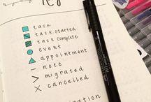 Bullet Journal - Keys and Colour Code