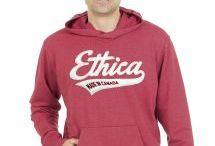 Ethica men's apparel / Ethica apparel is made in Canada: from knitting to decoration! Les vêtements ethica sont fabriqués au Québec : du tricot à l'identification ! www.ethi.ca