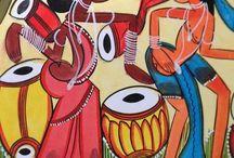 Paintings - Indian Santhal Tribal / Kalighat