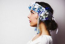Blue Flower Crown-Boho Style / Blue Flower Crown inspired in Slavic Tradition with touch of Alfons Mucha´s art