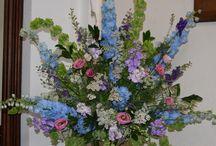 Church wedding flowers. Pedestals and pew ends / Pedestal arrangements with British, scented natural flowers grown in Lathbury, Milton Keynes