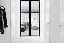black framed door