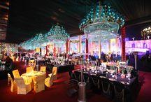beautiful chandelier & table decor / wedding