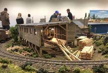 Beautiful Limestone model train layout in O scale