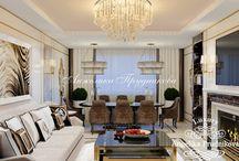 Дизайн интерьера квартиры в стиле Ар Деко в Павшинской Пойме / В интерьере квартиры продуман каждый элемент декора. Гостиная комната насыщенна цветовым контрастом светлого и тёмного. В дизайне квартиры в Павшинской Пойме имеются много личного пространства, благодаря чему хозяин квартиры будет чувствовать себя комфортно. Проект интерьера был выполнен в стиле Ар Деко.