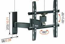 TV brackets / TV = H43.4 x W72.4 x D5.3cm (bracket needs > 37cm stand out from wall to allow TV to rotate 90 degrees for acces) Needs lateral adjustment. Ability to pull out of the cabinet for access to rear. Adjustment for level too.