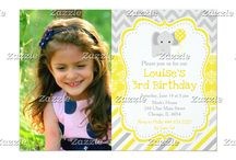 Yellow and Gray Damask Elephant Birthday / This collection features a cute gray elephant with a balloon. The background consists of a yellow damask pattern, gray polka dots and gray chevrons.