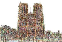 French Art / Impressionistic drawings of French Cities.