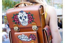 Leather transformer backpack, Catrina print