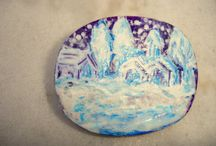 hand painted brooches