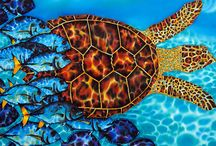 SEA TURTLE SILK PAINTINGS / A  collection of  silk painting by Jean-Baptiste depicting  sea turtles.