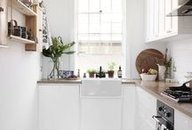 Gruesome kitchen transformation...in my dreams :) / My little galley kitchen in my very basic victorian terrace is just about falling apart. Its rank. Here are some ideas for it if I ever get any money. I like rustic, simple, natural materials. Hate plastic, stainless steel, glass. Like wood, brick, stone etc.