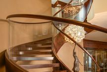 Glass Staircase Railing / Dramatic, Modern Staircase with Bent Glass Stair Rails