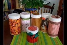 Artesanato com potes da herbalife e lata de nescau e lata de massa de tomate